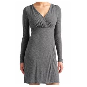 Athleta | Gray V neck Wrap Long Sleeve Dre…
